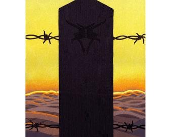 Totem Barbed Wire Fence Orange Landscape Original Linocut Print
