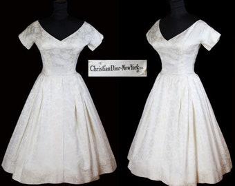 ON SALE Christian Dior 1950's Designer Silk Brocade Full Skirt Wedding Dress