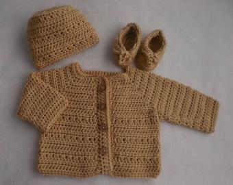 Baby boy sweater, crochet, beige baby sweater
