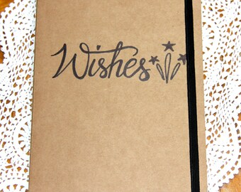 Wishes Journal, Diary, Kraft Notebook, Scrapbook, Doodle Book, Writing Book, Gratitude Book, Wishes, Comes with Canvas Drawstring Bag