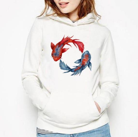 Yin Yang Koi Fish | Unisex Heavy Blend Hooded Sweatshirt | Graphic Hoodie | Watercolor yoga art | Japanese carp | Yoga clothing | ZuskaArt