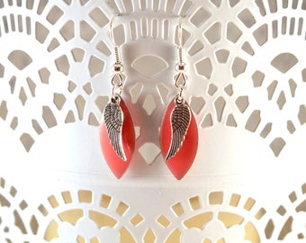 Feather drop earrings coral