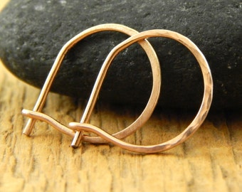 Gold hoops, solid rose gold hoops, tiny 1/2 inch hoops, 0.5 inch hoops, tiny gold hoops, 14k gold, ONE pair.
