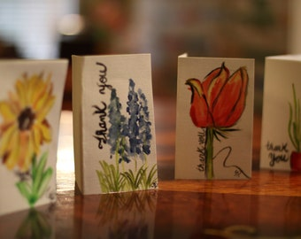 """Hand painted """"thank you"""" cards"""