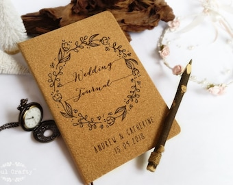 Personalized Wedding Journal Cork Hard cover A5 notebook Rustic wedding gift Diary Wedding Planner Guest messages