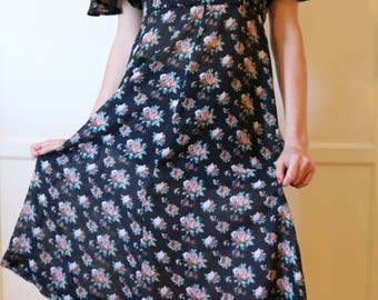 90s Black Floral Breezy Dress