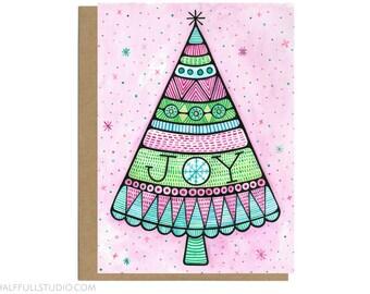 Christmas Card, Joy Christmas Card, Christmas Tree, Christmas Greetings, Joy, Pretty Holiday Card, Blank Christmas Card, Pink Christmas Card