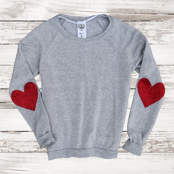 Items similar to Valentines Day Women. Heart Elbow Patch. Sequin Top ...