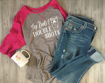 Top knots and Double Shots 3/4 pink and gray baseball t!!