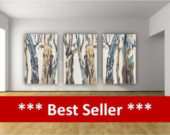 Oversized Large Wall Art Triptych White Blue Brown Pastels Canvas Print  Tree Trunks Dining Room Living