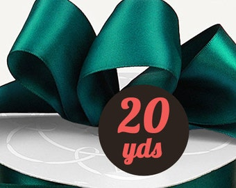 "Satin Teal Blue Green Ribbon - 7/8"" wide at 20 yards"