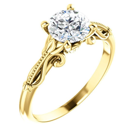 14K White Rose Yellow Gold Solitaire Diamond Vintage-Inspired Engagement Ring Setting Semi-Mount