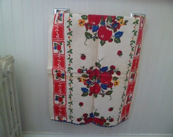 Vintage 1940s/50s Kitchen Dish Tea Towel Toweling Cloth Table Runner 16 x 35 Fruits Unused #1