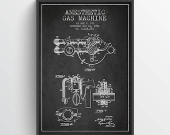 1952 Anesthetic Gas Machine Patent Art Print, Medical Patent, Anesthetic Machine Poster, Home Decor, Gift Idea, ME63P