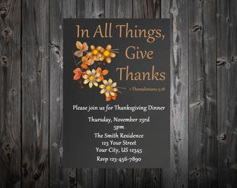 In All Things Give Thanks Chalkboard Thanksgiving Dinner Invitation