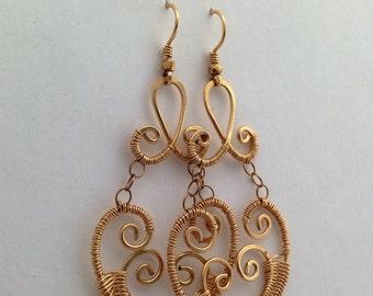 Artisan Caribbean Treasure 14kt Gold Filled Wire Wrapped Chandelier Earrings