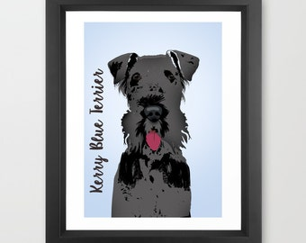 Kerry Blue Terrier Dog Art Print -  print, black and gray, Kerry Blue Lover, Gift Ideas for dog owners