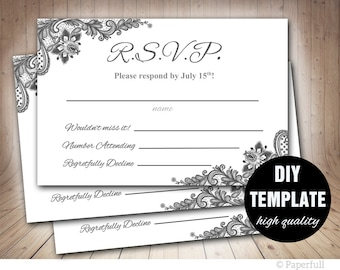 Lace RSVP Template, Grey Wedding Response Card, Silver Wedding RSVP, Silver Response Card,Grey RSVP Card Instant Download