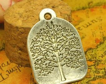 10 Tree Tag Charms, 32x22mm Antique Silver Tree Charms Tag Pendant