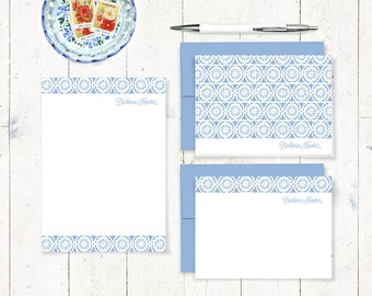 complete personalized stationery set - CHARMING FLORET - personalized stationary set - note cards - notepad - choose color