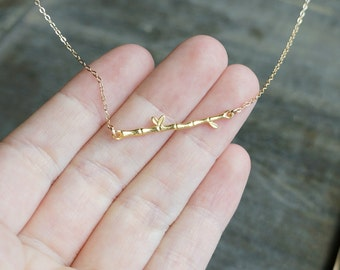 Bamboo Branch Necklace in Gold / Dainty Tree Limb Bar Necklace on a Gold Filled Chain • Nature Girl • Sweet Simple Minimalist and Feminine