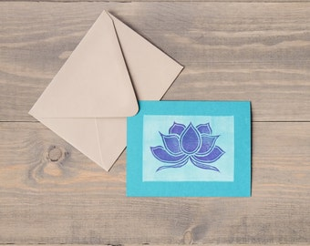 Lotus flower, Block print cards, Thank you cards, New beginnings cards, Lotus cards, Printed by hand, Linocut prints, Set of 6