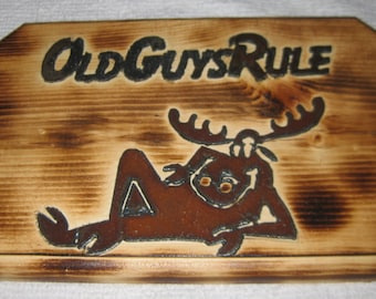 Handmade Wood Sign Old-Guys-Rule collectible ON SALE