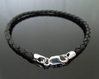 "3mm Black Braided Leather Wristband Bracelet With Sterling Silver Clasp 7"" 7.5"" 8"" 8.5"" 9"""