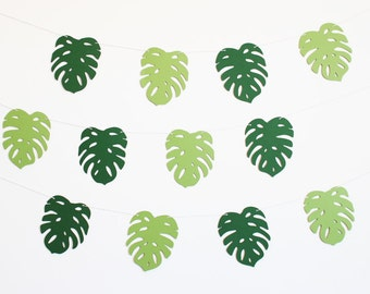 Palm Leaf Tropical Party Banner - Customizable Colors