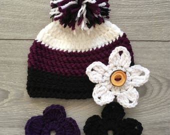 Ready to Ship - Baby Girl Crochet Hat with Pompom & 3 Interchangeable Flowers - Newborn Size