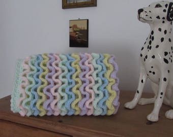 Handmade crocheted pram cover car seat security blanket