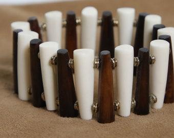 Bone Bracelet-alternating brown-white tubes/MED/Recycled/KY-BR-1T
