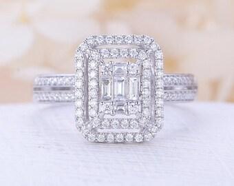 Unique engagement ring Vintage engagement ring diamond halo wedding Antique half eternity Bridal set Anniversary Valentine's Gift for women