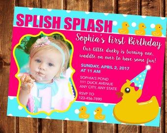 Rubber duck birthday invitation rubber ducky first birthday rubber duck birthday invitation rubber duck invitation rubber ducky invitation first birthday invitation filmwisefo Image collections