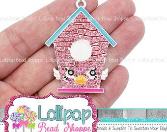 49mm Birdhouse Rhinestone Pendant, Pink Bird House Charm, Chunky Necklace Pendants, Bubblegum Beads, Bling Party Favors RP305