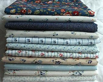Lecien Le Petit Jardin bundle - 1/8 assortment in blue theme