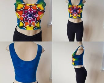 Hand Dyed Ladies Crop Top Size Large