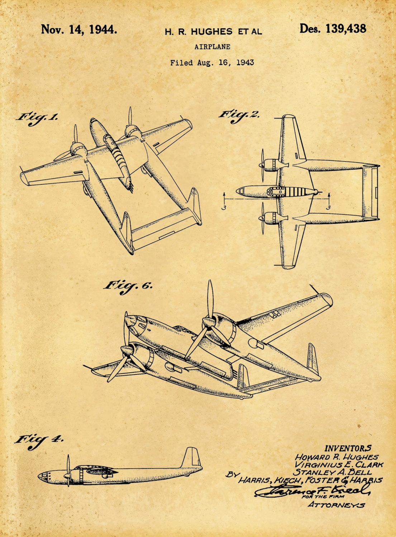1944 Howard Hughes Airplane Patent Art Print - Poster - Wall Art ...