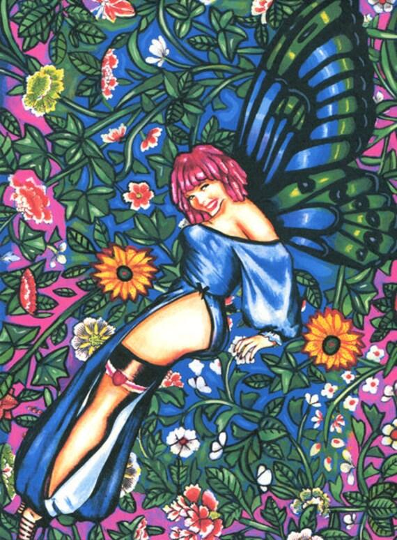butterfly fairy pin up girl art print, pinup girl painting, flower Garden fairy, fantasy original art, modern original artwork