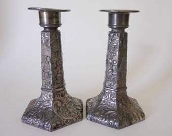 Vintage Pewter Candle Sticks Candle Holders