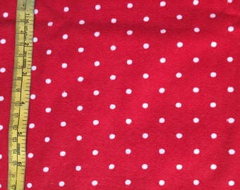 Red & White Polka Dot Cotton Fabric by the Yard Red and White Polka Dot Print Cotton Fabric Quilting Apparel 100% Cotton Fabric