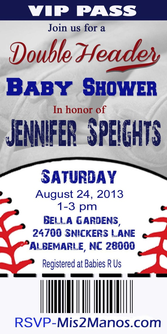 BASEBALL BABY Shower Ticket Invitation Twins Baby Shower