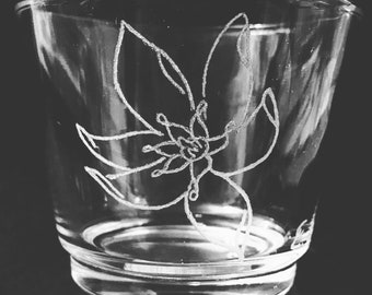 Hand Engraved Glass Candle Holder