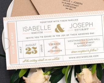 Modern Ticket Wedding Invitation / 'Typography Ticket' Cute Admission Ticket Wedding Invite / Boarding Pass / Blush Nude Gold / ONE SAMPLE