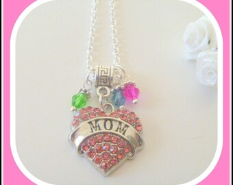 Mom Pink Crystal Studded Heart Pendant Necklace Personalized Custom Birthstones