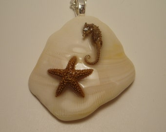 Sea Shell Necklace with Starfish & Seahorse
