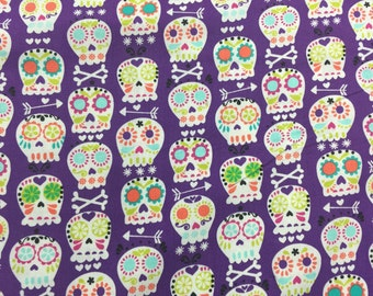 Michael Miller Sugar Skulls Purple Bkg 1 yard