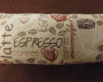 Small pillow hot & cold pack, Microwaveable hot and cold pack. Latte print. Coffee