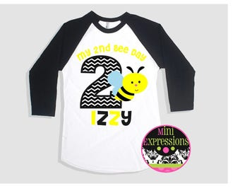 My Bee Day Birthday Raglan shirt Personalized just for you