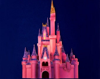 Disney castle at night - Cinderella's castle at night - handmade scrapbook embellishment - pink Disney castle